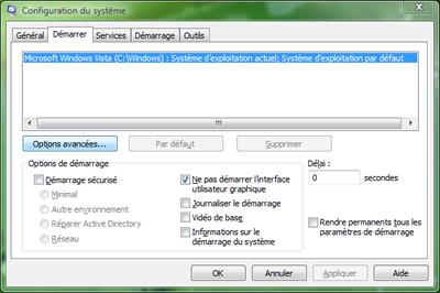 Capture d'écran - Configuration du système, msconfig.exe