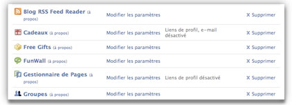 supprimer application sur facebook