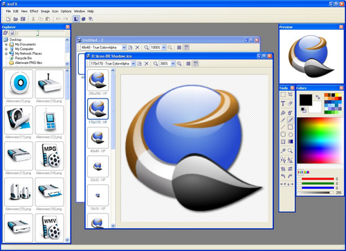 Editeur d'icônes compatible PNG et Vista