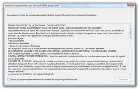 Pack de compatibilité Office 2007 <> versions antérieures : Les formats des documents d'Office 2007 sont différents des anciennes versions (Microsoft Office 2000, Office XP ou Office 2003).