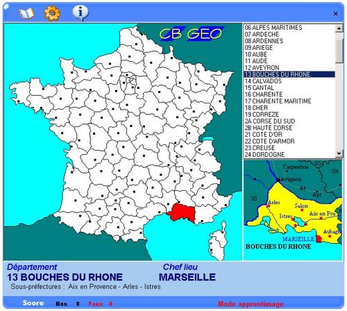apprendre la carte des départements et regions de france