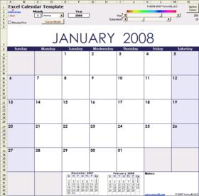 thème de calendrier pour Excel