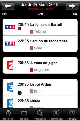 programme TV sur iPhone ipad