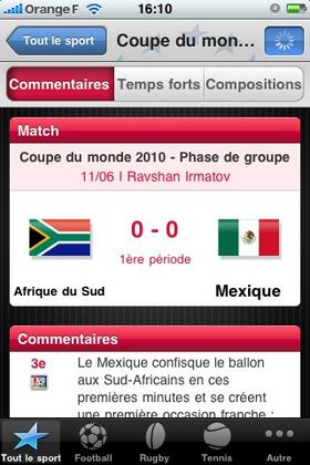 sport sur iphone ipad