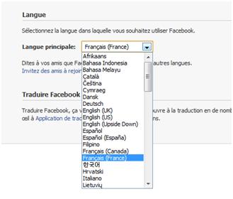 changer la langue sur facebook
