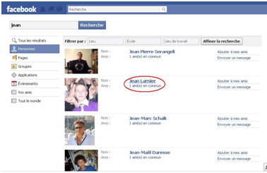 envoyer un message sur facebook