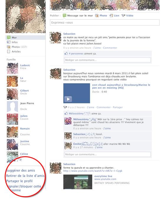 effacer un contact facebook