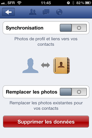 Synchronisation contact facebook iphone