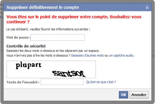 desinscrire compte facebook