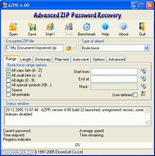 ADVANCED ZIP PASSWORD RECOVERY retrouver mot de passe