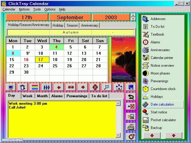calendrier personnalisé sur windows