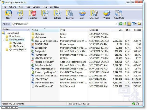 winzip compresser fichier